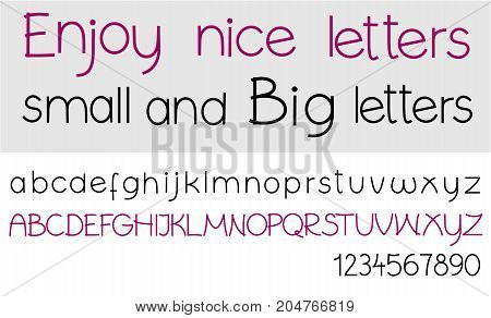 Big and small alphabet letters - vector illustration
