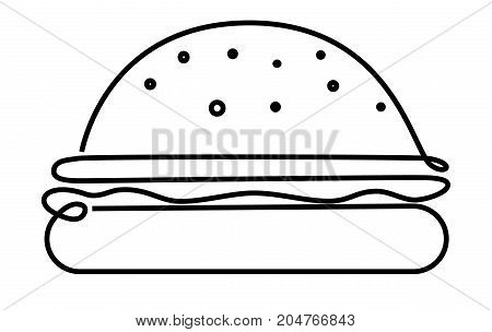 Big burger one line drawing - vector illustration