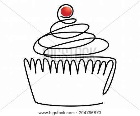 Sweet cake one line drawing- vector illustration