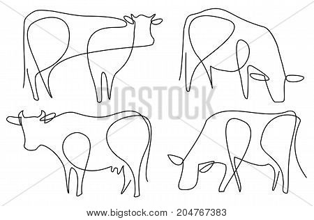 Cow one line drawing - vector illustration