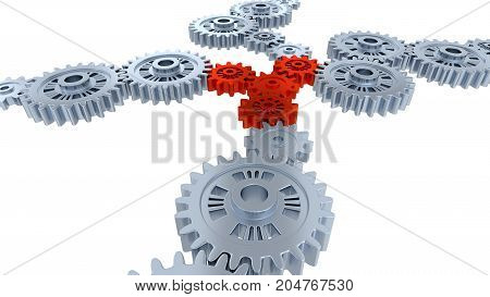 3D illustration of Side and Perspective View of Several Silver Gears and Four Red with a white background