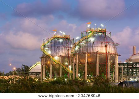 Electricity and Chemical plant at twilight scene. Heavy industry Business manufacturing