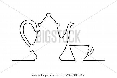 Tea set one line drawing - vector illustration