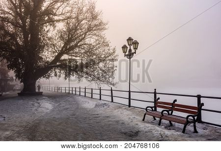 City Embankment In Foggy Winter Morning