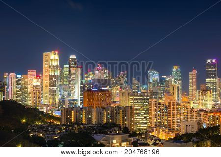 Singapore urban and business downtown at night., Skyscrapers of Singapore, Cityscape