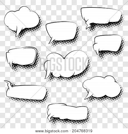 Set of Speech Bubbles Isolated without Background, Black and White Vector Illustration