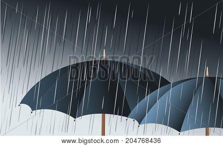 Umbrellas in the rain - vector illustration