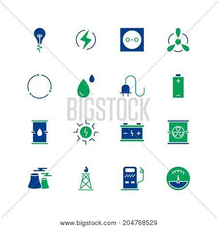 Energyicon set. Collection of battery line icons. High quality logos of lamp, sun, water  on white background. Pack of symbols for design website, mobile app, printed material, etc.
