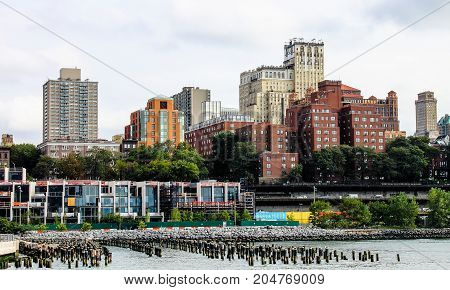 New York USA - 28 September 2016: Cityscape of Brooklyn with Brooklyn Bridge Park in the foreground along the East River.