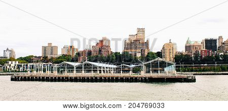 New York USA - 28 September 2016: Brooklyn Bridge Park Pier 2 along the Brooklyn side of the East River.