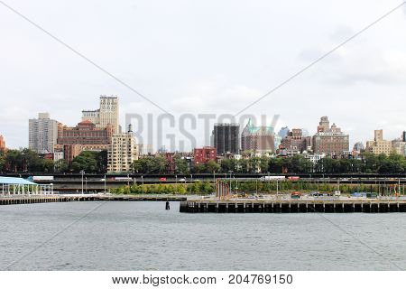 New York USA - 28 September 2016: Brooklyn waterfront between Pier 2 and Pier 3 along the East River.