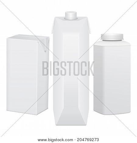 Set of cardboard package for beverage, juice, milk or yogurt. Mock up for your design