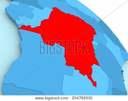 Democratic Republic Of Congo On Blue Globe
