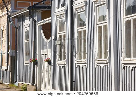 Antique wooden colorful facades in Rauma. Finland. UNESCO Heritage. Horizontal
