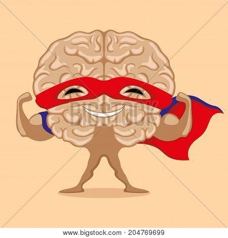 Super brain in red mask on beige background.