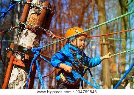 little boy climbing in adventure activity park, kids outdoor activities