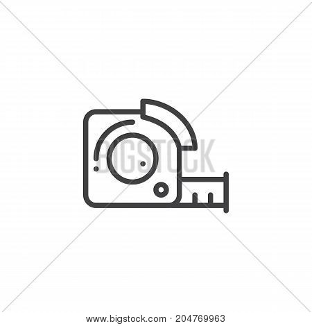 Measuring tape line icon, outline vector sign, linear style pictogram isolated on white. Symbol, logo illustration. Editable stroke