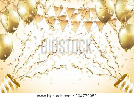 Gold balloons, confetti, streamers, flag and party popper on gold background. Vector illustration.