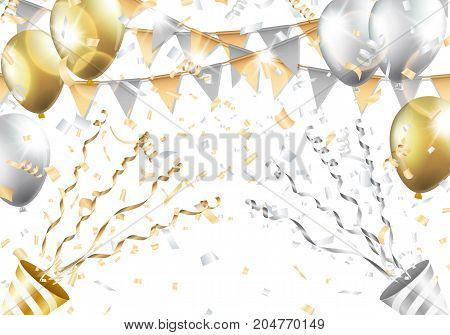 Gold and silver balloons, confetti, flag and party popper on white background. Vector illustration.