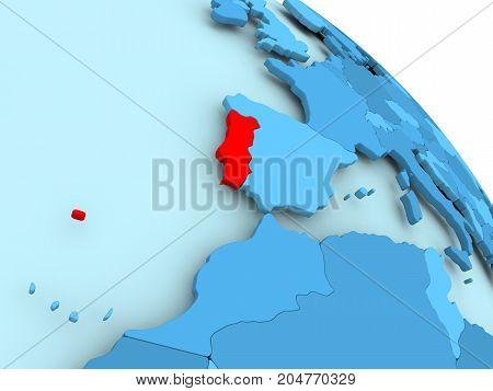 Portugal On Blue Globe