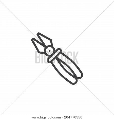 Pliers work tool line icon, outline vector sign, linear style pictogram isolated on white. Symbol, logo illustration. Editable stroke