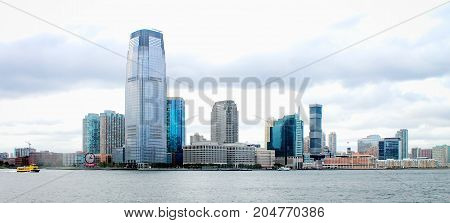 New Jersey USA - 28 September 2016: Waterfront Buildings lining the Hudson River in Jersey City.