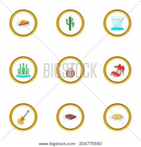 Typical Argentina icons set. Cartoon style set of 9 Typical Argentina vector icons for web design