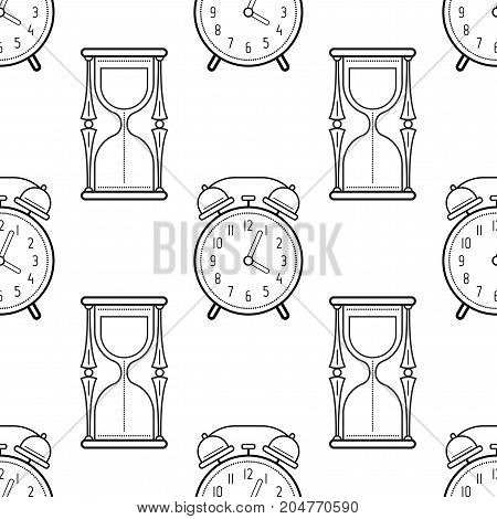 Hourglass and alarm clock. Black and white seamless pattern for coloring books, pages. Vector illustration.
