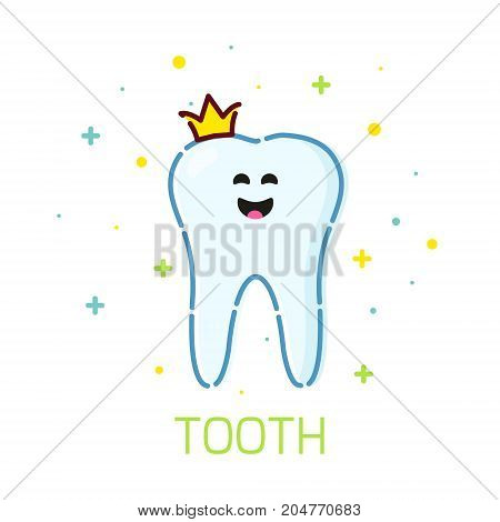 Smiling cartoon tooth character with a crown on white background. Oral dental hygiene. Teeth whitening and restoration. Dental health symbol. Human body medical concept. Vector illustration.