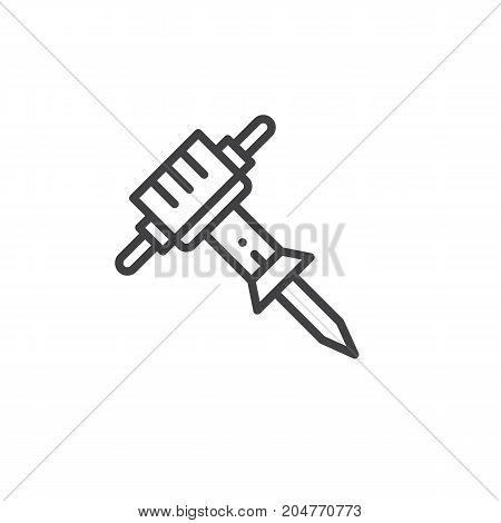Jackhammer line icon, outline vector sign, linear style pictogram isolated on white. Symbol, logo illustration. Editable stroke