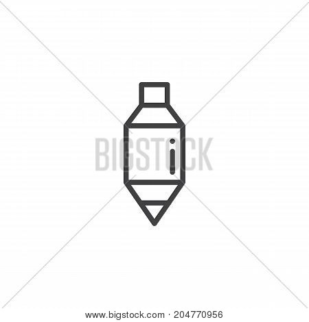 Plumb bob line icon, outline vector sign, linear style pictogram isolated on white. Symbol, logo illustration. Editable stroke