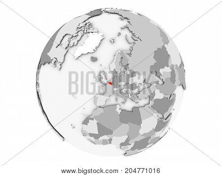 Belgium On Grey Globe Isolated