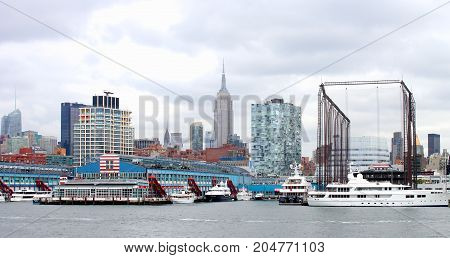 New York USA - 28 September 2016: Manhattan Buildings and landmarks at Pier sixty along the Hudson River.