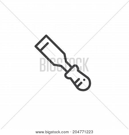 Chisel line icon, outline vector sign, linear style pictogram isolated on white. Symbol, logo illustration. Editable stroke