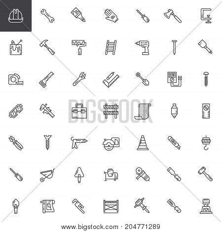 Work tools line icons set, outline vector symbol collection, linear style pictogram pack. Signs, logo illustration. Set includes icons as helmet, wrench, safety gloves, hammer, ruler, shovel