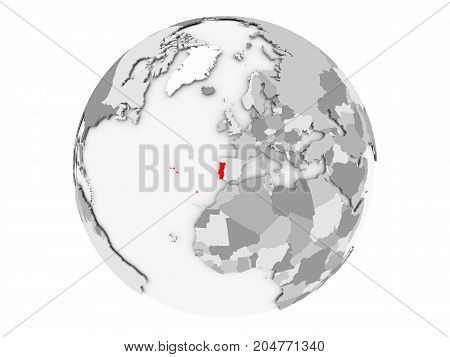 Portugal On Grey Globe Isolated