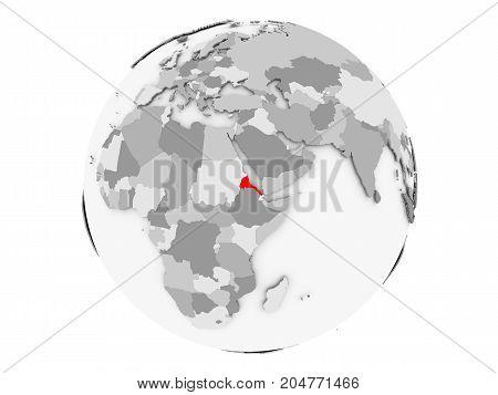 Eritrea On Grey Globe Isolated