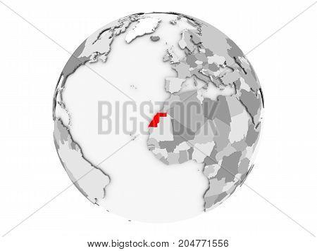 Western Sahara On Grey Globe Isolated
