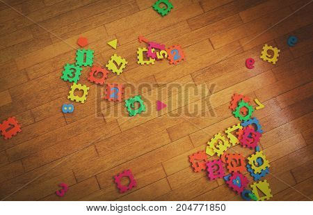 kids playroom with number puzzle, education and learning concept