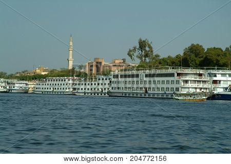 EGYPT, January 15, 2005:  Tourist boats on the Blue Nile, Aswan, Egypt, North Africa, Africa