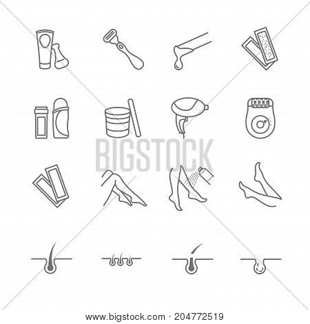 Hair removal tools icons set for your design
