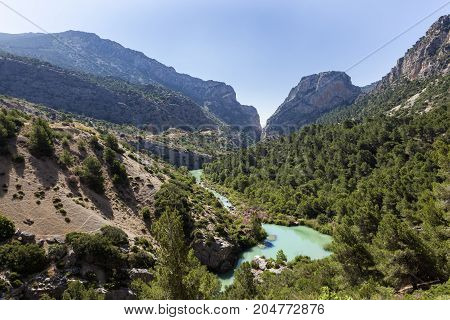 Landscape at the El Chorro gorge near town Alora. Province of Malaga Spain