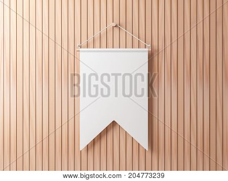 Blank White pennant hanging on wooden wall, 3d rendering