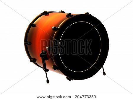 3D Rendering Bass Drum On White