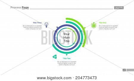 Three options doughnut chart slide template. Business data. Arc, comparison, design. Creative concept for infographic, presentation. Can be used for topics like management, analysis, research.
