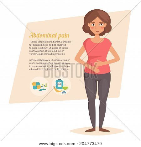 Stomach pain. Vector. Cartoon character Isolated Flat