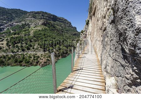 Hiking trail 'El Caminito del Rey' - King's Little Path former world's most dangerous footpath wich was reopened in May 2015. Ardales Malaga province Spain