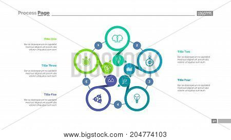 Five options process chart slide template. Business data. Step, diagram, design. Creative concept for infographic, presentation. Can be used for topics like management, planning, teamwork.
