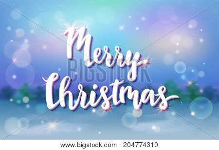Merry christmas card with xmas night cartoon landscape, blurred background with lettering, invitation or banner template, vector illustration