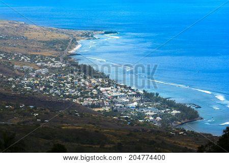 Aerial View Of Saint Leu At Reunion Island